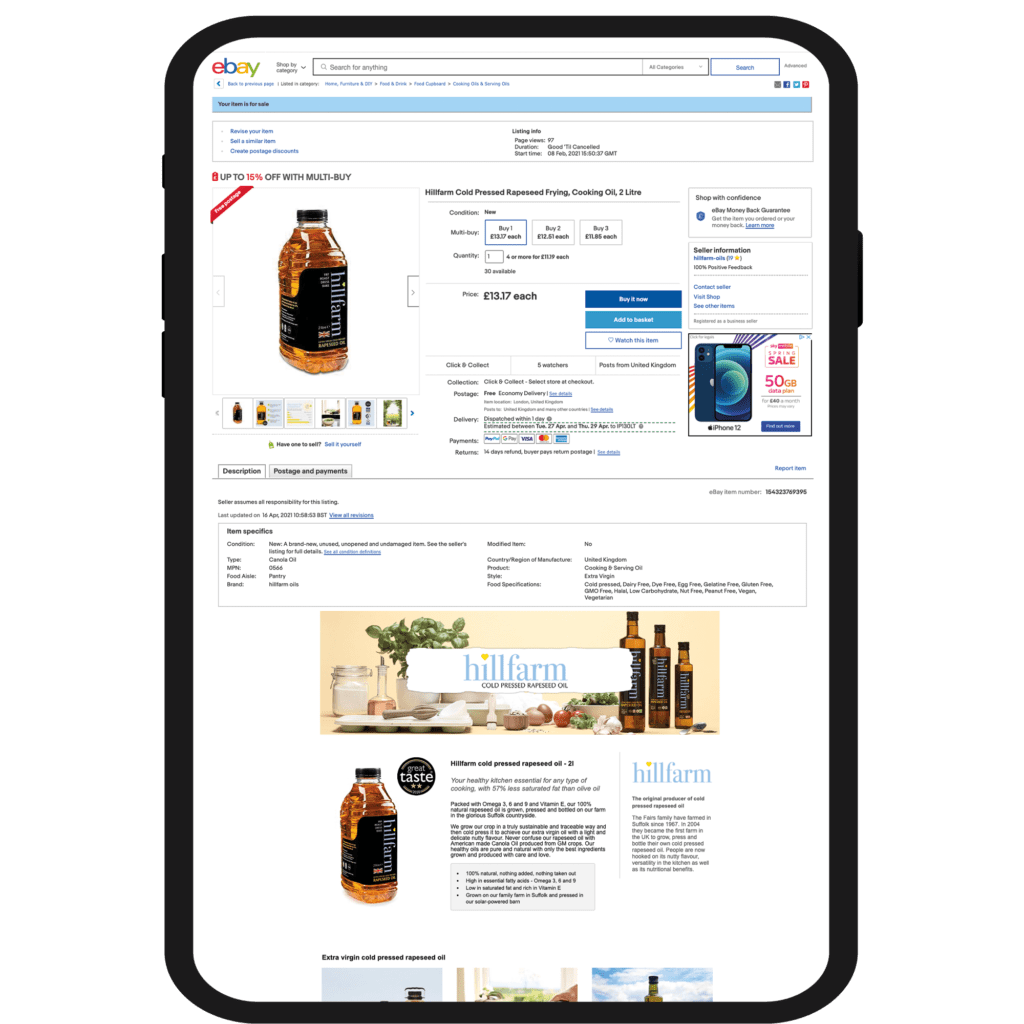 Hillfarms Example - eBay SEO service - ebay shop - eBay agency - marketplace amp
